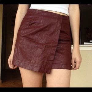 Brandy Melville Maroon Leather Mini Skirt Size S